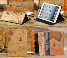 Retro Unique Navigation Map Design Stand PU Leather Smart Cover Case For Tablet