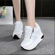 New Womens Lace up Sneakers Hidden Wedge Heel Comfort Breathable Shoes Size