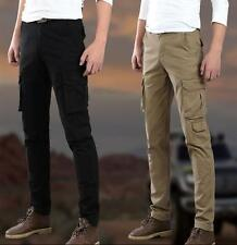 Mens work Slim Fit Skinny Military Casual Cargo Overalls Pants Packet Trousers