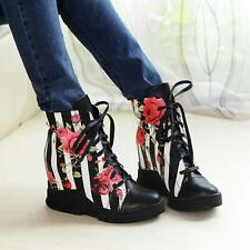 New Womens Hidden Wedges heel Lace Up Floral Sneakers Ankle Boot Punk Shoes SZ