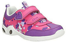 Clarks MITZY Leap Girls Purple Pink Leather Lights Trainers 7 - 10 FGH Fit BNIB