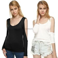 Women cross strap Slim Tops Bottoming T-Shirt Off-shoulder  Long Sleeve stylish