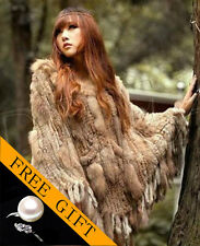 SALE! Genuine Real Raccoon+Rabbit fur cape/scarf/poncho Natural Brown/Gray/Black
