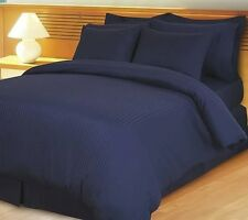 US CAL KING NAVY BLUE STRIPE 1000TC EGYPTIAN COTTON US- BEDDING COLLECTION