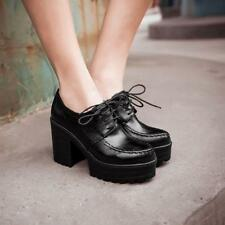 Womens high Block Chunky Heel Platform Lace Up Pumps Ankle Boots Shoes Plus Size