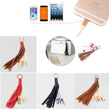 Tassels Key Chain Micro-USB Lightning Type-C Data Sync Charging Cable Connector