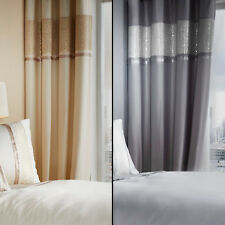 CATHERINE LANSFIELD LINED LUXOR JACQUARD CURTAINS RING TOP EYELET GOLD SILVER