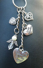 In Memory Of Grandma,Granny Angel & Hearts Keyring, Bag Charm.Choice of Colours