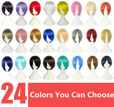 24 Colors Men & Women Cosplay 30cm Short Good Straight Anime Wig +Free Wig Cap