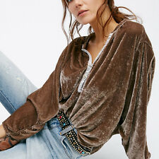 Plus Size Women Velvet V Collar Loose Blouse Casual Batwing Sleeve Shirts Tops