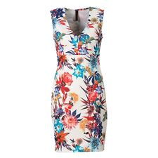 Women Floral Flower Deep V-neck Sleeveless Slim Party Fitted Casual Dress