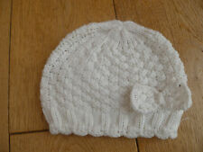 MONSOON ACCESSORIZE CREAM KNITTED WARM BOW SEQUIN BEANIE HAT 6 13 YEARS NEW