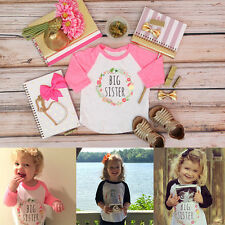 Baby Toddler Kid Girl BIG SISTER Long Sleeve T-shirt Cotton Tops Blouse 1-5T
