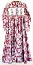 Anokhi Red Floral Block Print Indian Cotton Mughal Maxi Dress Hippie Festival
