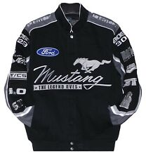 2017 Ford Mustang Racing Jacket Collage Mens Black Twill Jacket by JH Design