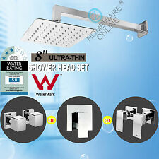 Ultra Thin Square Shower Head & 400MM Wall Extension Arm Taps/Mixer SET Chrome