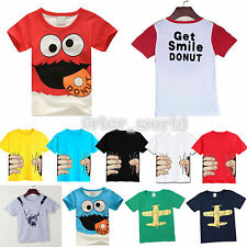 Baby Kids Boys Short Sleeve Cotton Cartoon Tops Shirt Summer Casual Tee T-Shirts