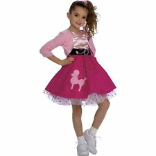Girls Poodle Skirt Costume 50s Fancy Dress Pink Red Halloween Toddler Child Kids