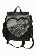 Banned Ladies Women's Rockwell Spider Web Heart Shape Gothic Backpack Handbag