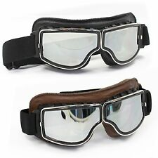 Vintage Motorcycle Scooter Aviator Cruiser Helmet Pilot Leather Tinted Goggles