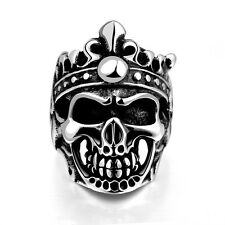 Western Classical Silver Cool Skull Men Ring Size 9 10 11 316 L Stainless Steel
