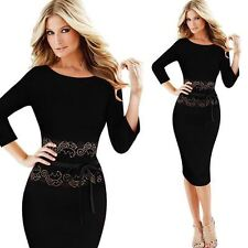 Vintage Lace Tunic Casual Work Office Party Pencil Sheath dresses
