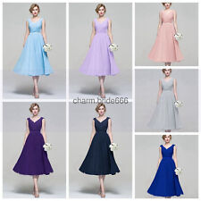 New Formal Short Chiffon Evening Ball Gown Party Prom Bridesmaid Dress Size 6-18