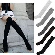 New Women Lady Solid Girls Long Cotton Stockings Thigh High Over The Knee Socks