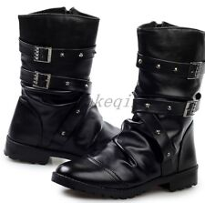 2017 Mens New combat boots lace up military buckle strap motor shoes buckle Hot