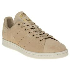 New Mens adidas Natural Khaki Stan Smith Suede Trainers Retro Lace Up