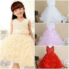 Ruffle Flower Girl Kid Princess Wedding Bridesmaid Party Pageant Tutu Gown Dress