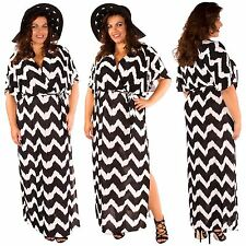 New Ladies Plus Size Aztec Stripe Deep Plunge V-Neck Maxi Dress 16-26
