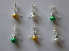 6 x Guardian Angel/Fairy Charms Pearl  Glass beads/Crystal beads  You Choose