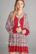 VELZERA PLUS 2X Red Floral Hippie Tunic Dress Gypsy Boho Bohemian Festival Nwt
