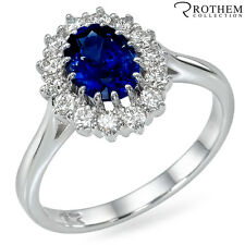 2.05 ct White Gold Princess Lady D Oval Blue Sapphire Engagement Ring 48746054