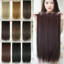 24inch Long and Straight Synthetic Hair Extension Clip in Hair Extensions