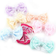 50Pcs Lace Fabric Ribbons Flowers Bow DIY Appliques/Sewing/Craft/Wedding Bulk SG