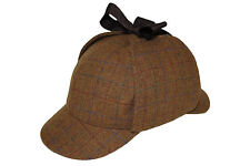100% Wool Country Tweed Check Sherlock Holmes Deerstalker Hunting Drop Ears Hat