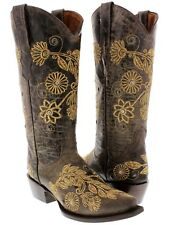 Women's Brown Roma Western Leather Cowboy Boots Emroidered Ladies Cowgirl Rodeo