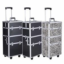 3 in 1 Aluminum Rolling Makeup Cosmetic Train Case Wheeled Trolley Box 4 Color