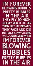 I'M FOREVER BLOWING BUBBLES metal SIGN - west ham football chant plaque poster