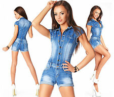 Sexy Women's Denim Blue Jeans Hot Pants Playsuit Jumpsuit Overall Z 623
