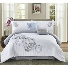 Transitional White Floral Embroidered 6-PC Comforter Set King Queen NEW