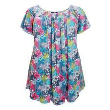Plus Size Floral Tunic Marina Kaneva Pleated Retro Blue Pink Top