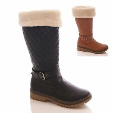 LADIES WOMENS QUILTED BOOTS FUR WINTER FLAT MID CALF SNOW CASUAL SHOES SIZE 3-8