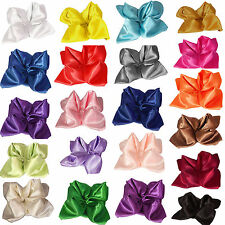 "10 X 12"" / 20"" Satin Solid Square Dinner Handkerchief Hanky Napkin Wedding Party"
