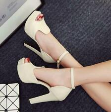 Womens High chunky Heels Ankle Strap buckle Peep Toe sandals Dress Court Shoes