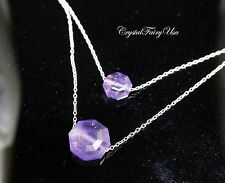 Sterling Silver Amethyst Stone Necklace - Layered Amethyst Set - Faceted Amethsy