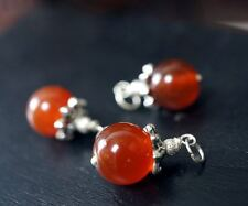 Red Carnelian Pendant - Tiny Red carnelian Necklace - Simple Genuine Red Agate J