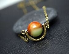 Botswana Agate Necklace - Bronze Global  Retro Red Green Agate Pendant